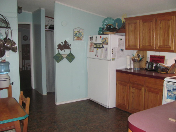 Mobile Home Color, Here's my new kitchen color.  A friend recommended green, but I couldn't get used to that.  I like cool, beachy colors. But it needs contrast.  What else should I do?  What do you think?, Cabinets were resurfaced about a year ago.  Mobile Home cabinets are usually the worst part of a mobile home., Kitchens Design