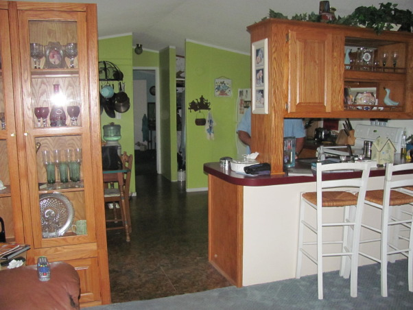 Mobile Home Color, Here's my new kitchen color.  A friend recommended green, but I couldn't get used to that.  I like cool, beachy colors. But it needs contrast.  What else should I do?  What do you think?, Here is the green.  I just kept it a week. Too bold for my taste, Kitchens Design