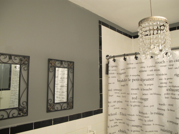 Bathroom- Gray, Softened the mood of a previously yellow-beige bathroom with a cool shade of gray., Gray, Black and White palette, Bathrooms Design