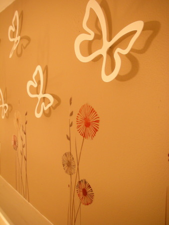 18 Year Old's Room, I redid my room this year when I turned 18. I wanted something that was simpler and more mature- hopefully I achieve that look!, Flower wall pops and 3D butterfly decorations from Target, Girls' Rooms Design