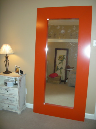 18 Year Old's Room, I redid my room this year when I turned 18. I wanted something that was simpler and more mature- hopefully I achieve that look!, Orange mirror from IKEA                      (my favorite thing in my room!               , Girls' Rooms Design