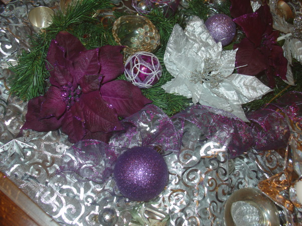 Silver and Purple Christmas, I wanted a change this Christmas but on Budget. So I decided to change just a few things on my Christmas decor, center coffee table. It has a drawer to fill in and glass on top. Perfect for decorating.  , Holidays Design