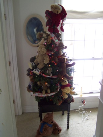The Many Christmas Trees of Arbor House Lane, I enjoy decorating for Christmas and this includes a Christmas tree in almost every room in my home.  , My youngest son's teddy bear tree.  Colored lights and favorite teddy bears.  , Holidays Design