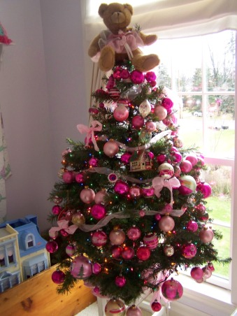 The Many Christmas Trees of Arbor House Lane, I enjoy decorating for Christmas and this includes a Christmas tree in almost every room in my home.  , This is my daughter's tree full of vintage pink ornaments and her favorite bear in pink tule.  , Holidays Design