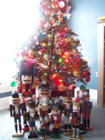 The Many Christmas Trees of Arbor House Lane, I enjoy decorating for Christmas and this includes a Christmas tree in almost every room in my home.  , My son's nutcracker tree.  This tree is packed with vintage colored ornaments and nutcrackers.    , Holidays Design