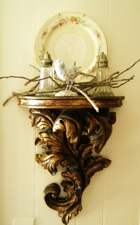 Simple Holiday Splender, Twigs from the yard and grandmothers china adorn a gilded sconce      , Holidays Design