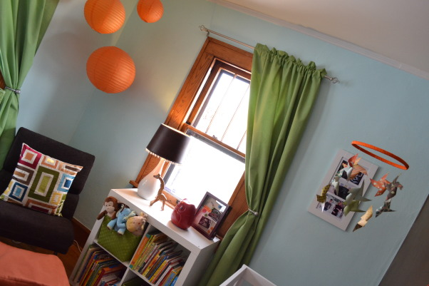 "Judah's Colorful Nursery, I created a modern space for my baby boy and added lots of colors, circles, and animals with some vintage elements.  , Since it's a kids room I wanted to add fun elements like the paper lanterns.  My goal was to make the room fun without being too ""theme-y"" or babyish.  , Nurseries Design"