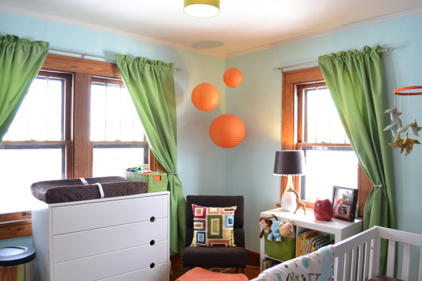 Judah's Colorful Nursery, I created a modern space for my baby boy and added lots of colors, circles, and animals with some vintage elements.  , My son's room is very small so we had to maximize the furniture.  The dresser doubles as the changer and there's plenty of storage in the bookcase., Nurseries Design