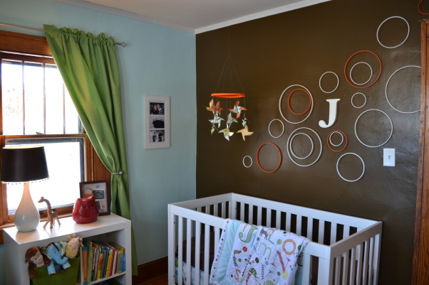 Judah's Colorful Nursery, I created a modern space for my baby boy and added lots of colors, circles, and animals with some vintage elements.  , The crib and dresser are from walmart.com and we love them!  Good quality at a great price.  , Nurseries Design