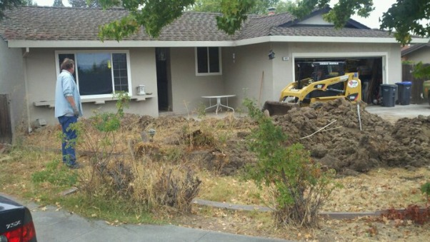 The beginning!, Front yard before and after removing rotted decking and raised lawn area, Yards Design