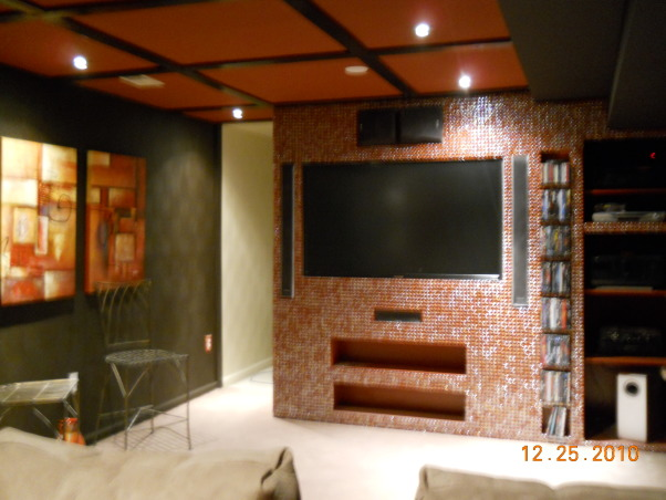 MODERN THEATER ROOM, MODERN COZY THEATER ROOM IN MY BASEMENT WITH MOSAIC GLASS TILES ON THE SCREEN SURROUND... DARK BROWN WALLS SIENNA COLOR CEILINGS, SILK DRAPES AND TV SURROUND... FIRST ROOM I RENOVATED IN THE BASEMENT, MORE PICS TO COME., Media Rooms Design