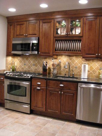 Traditional Small Kitchen, We remodeled our kitchen from scratch doing all the work ourselves.  This is a small space 10ft x 12ft with Bertch Legacy cabinets, granite countertops, GE stainless steel appliances, tumbled marble backsplash and heated tile floor., Main kitchen area. , Kitchens Design