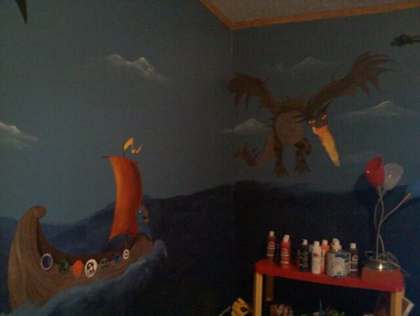 How To Train Your Dragon Room , How To Train Your Dragon room theme I painted for my son., Monstrous Nightmare Dragon on wall by window., Boys' Rooms Design