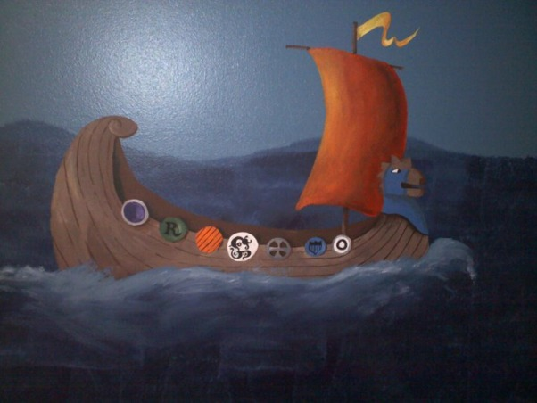 How To Train Your Dragon Room , How To Train Your Dragon room theme I painted for my son., Close up of Viking Ship., Boys' Rooms Design