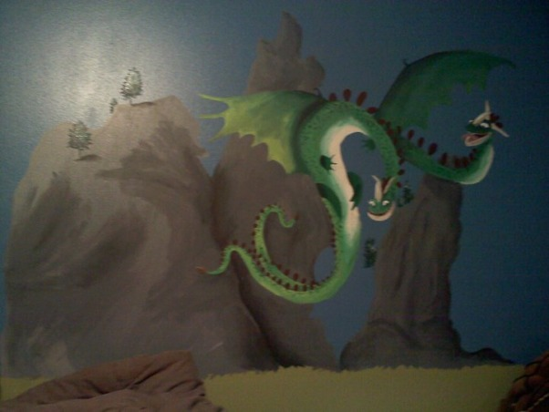 How To Train Your Dragon Room , How To Train Your Dragon room theme I painted for my son., His huge 4' Hideous Zippleback Dragon above his bed., Boys' Rooms Design