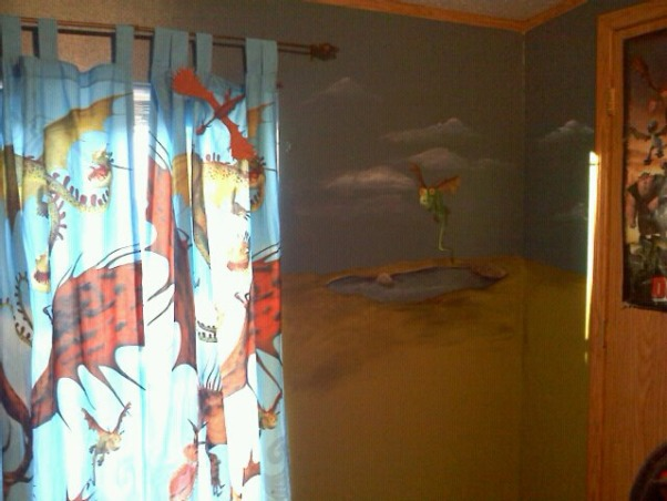 How To Train Your Dragon Room , How To Train Your Dragon room theme I painted for my son., Second wall I painted a little Nadder Dragon with a pond under it., Boys' Rooms Design
