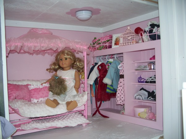 American Girl Dollhouse, My hubby and I had fun designing and making this dollhouse., Lanie and Rose's room. My hubby and I made the closet and I sewed the bedding. , Girls' Rooms Design