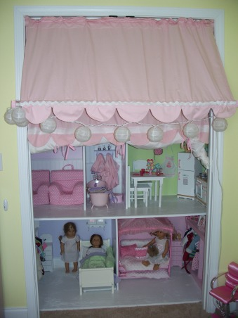 American Girl Dollhouse, My hubby and I had fun designing and making this dollhouse., We built it into the closet of the girls' playroom. , Girls' Rooms Design