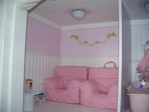American Girl Dollhouse, My hubby and I had fun designing and making this dollhouse., The Living Room.  Pottery Barn Doll Anywhere Chairs.  (They just fit :) , Girls' Rooms Design