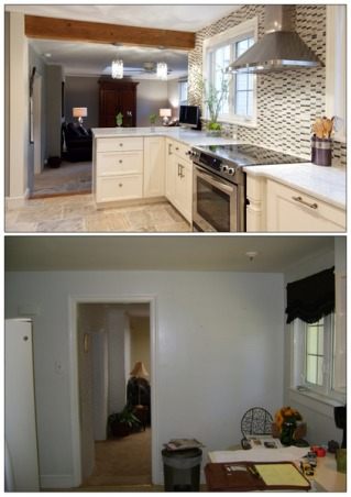 Finished in Fall, Happy With All!, We found the house in which we wanted to downsize and were glad to find one that needed a new kitchen!  I found it a fun challenge customizing the space to our own taste.  , Bottom photo shows wall intact, top photo demo'd. (Builder's photographer took this picture for his website.)  There are pull-out spice racks on either side of the oven that appear to be ''columns.''              , Kitchens Design