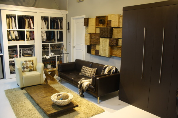 garage into bedroom/studio, modern bedroom, nice use of neutrals, transformed from a garage , Garages Design