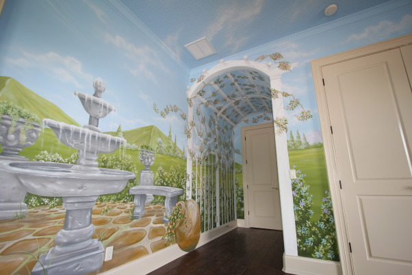 Princess bed, Custom made princess bed and hand painted mural to complete the theme, Entry to princess room, barrel ceiling painted to resemble an arbor and flowering vines, Girls' Rooms Design
