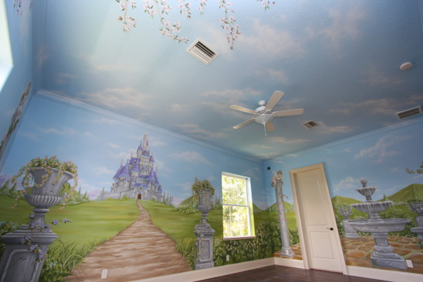 Princess bed, Custom made princess bed and hand painted mural to complete the theme, Mural before bed installation, Girls' Rooms Design