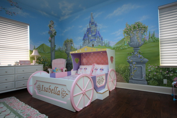 Princess bed, Custom made princess bed and hand painted mural to complete the theme, Custom carriage bed and hand painted mural, Girls' Rooms Design