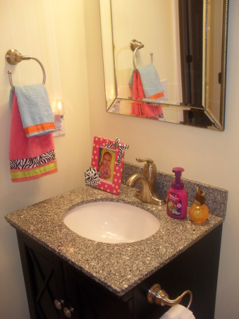 Mermaid Bathroom, Whimsical mermaid bathroom. Zebra tied in of course., Her black vanity with beaded mirror., Bathrooms Design