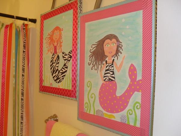Mermaid Bathroom, Whimsical mermaid bathroom. Zebra tied in of course., Mermaid pictures byu Ellie's Nini., Bathrooms Design