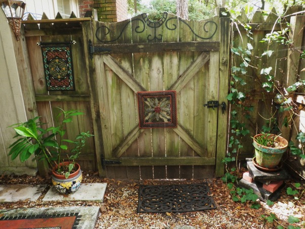 "Outdoor Therapy, I am new ""Gardeness,"" and therefore can not take credit for some of the outdoor features.  I appreciate the vision that the original home owner had. I' ve added my own touches and am enjoying my new found therapy., Back Gate.     , Gardens Design"