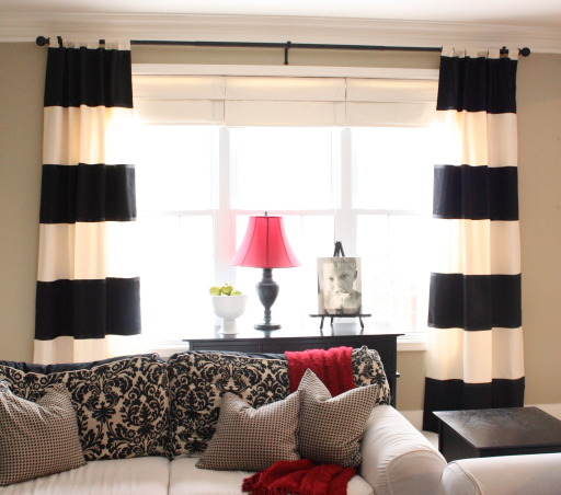 Updated Cottage Family Room, Please visit my blog: theyellowcapecod.com for an easy tutorial on how to make these striped drapes. , Living Rooms Design