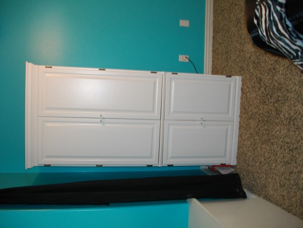 """Halfway there"" blue zebra room, This is my teens room. We're not done yet but we were just asking for any suggestions you might have to fill the room we are going for a tiffany and co. kind of look so please comment with any suggestions., this is my hutch, Girls' Rooms Design"