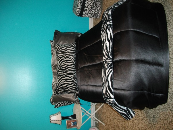 """Halfway there"" blue zebra room, This is my teens room. We're not done yet but we were just asking for any suggestions you might have to fill the room we are going for a tiffany and co. kind of look so please comment with any suggestions., This is my bed I am planning on painting the nightstand white or buying a better one. can't decide! I also can't decide what to hang above the bed., Girls' Rooms Design"
