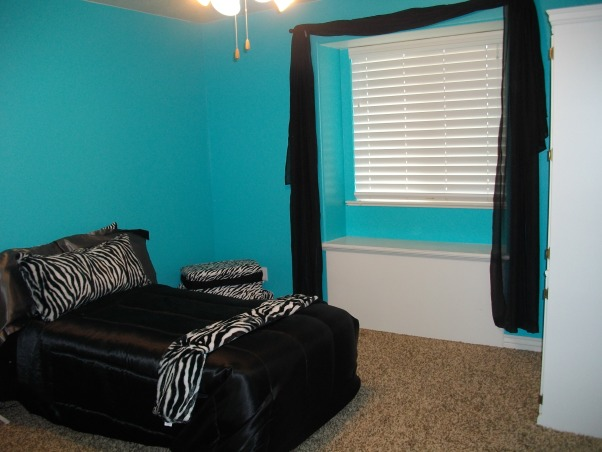 """Halfway there"" blue zebra room, This is my teens room. We're not done yet but we were just asking for any suggestions you might have to fill the room we are going for a tiffany and co. kind of look so please comment with any suggestions., This is what you see when you walk in the door. In the far corner i was planning on putting a chair somewhat like this: http://www.bedbathandbeyond.com/product.asp?sku=16025828&utm_source=google&utm_medium=organic&utm_campaign=shopping, Girls' Rooms Design"