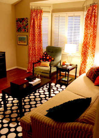 I Heart Pattern, I took what used to be a third bedroom in our home, ripped out the carpet, painted the walls, installed new floors and turned it into a living room/office for my son and I to use when my husband is watching his sports in the family room, I started off with a completely blank slate in this room, but I knew I wanted the main color to be orange and I wanted it to be very colorful and playful. , Living Rooms Design