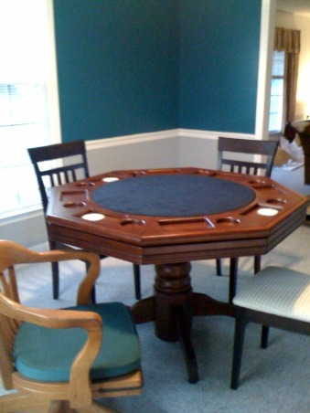 Game Room, poker room,, Poker and pool table rooms before and after. , Poker table by hillsdale furniture, with flip side dining top. I feel in love with the light gray color we selected for trim, comet dust in now in several rooms.        , Boys' Rooms Design