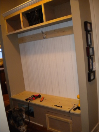 do it yourself mudroom, We had a empty space that was perfect off the front door for a small mudroom for coats and such since we had no hall closet.  So my wonderful talented husband built us a little mudroom! I love it!, during project , Other Spaces Design