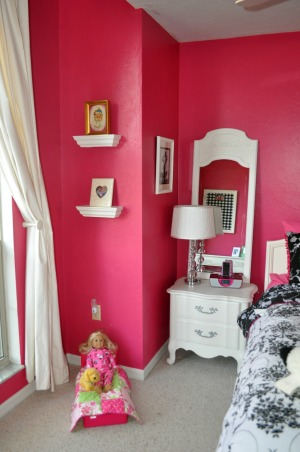 Sassy Pink Bedroom, This is my 9 year olds bedroom.   Visit www.the-inspired-nest.blogspot.com for more details. Please ignore the fan! A new chandelier is coming by the end of the month!, Girls' Rooms Design