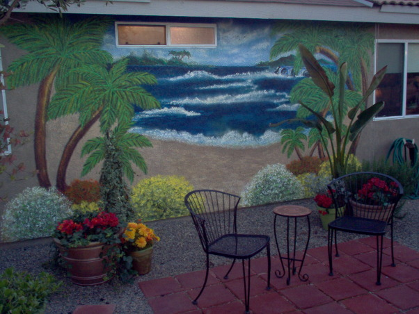 Backyard Wall Mural, I painted this mural on the back wall of my home, which faces my shade garden and small sitting area.  I hope it gives you inspiration to do something unexpected in your garden!, Wall Mural, Gardens Design
