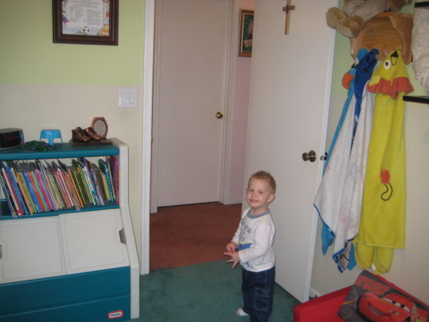 Brothers share Bunks, The boys are sharing now and I may want to move them across the hall to the bigger bedroom....Need input., My 2 yr oold son in the doorway to the smaller room., Boys' Rooms Design