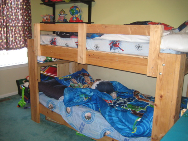 Brothers share Bunks, The boys are sharing now and I may want to move them across the hall to the bigger bedroom....Need input., Bunks..Had make by my husband, Boys' Rooms Design