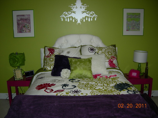 Parakeet Green Teen Dream, We redecorated my daughter's bedroom for her birthday.  Together we selected the bedding and green paint.  I did the rest as a surprise., SW Parakeet Green Paint, and bedding from BB&Beyond start the project.  Chandelier wall decal from Walls Need Love.  , Girls' Rooms Design