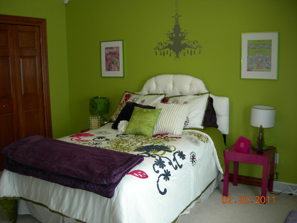 Parakeet Green Teen Dream, We redecorated my daughter's bedroom for her birthday.  Together we selected the bedding and green paint.  I did the rest as a surprise., Headboard from Target, side tables from Walmart, lamps from Target & Home Goods  , Girls' Rooms Design