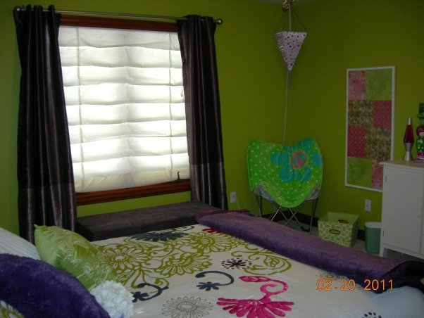Parakeet Green Teen Dream, We redecorated my daughter's bedroom for her birthday.  Together we selected the bedding and green paint.  I did the rest as a surprise., I love the storage bench under the window - tough to see in this pic.  Bench from Home Decorators, curtains from Target.  , Girls' Rooms Design