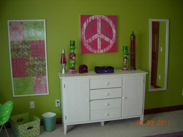 Parakeet Green Teen Dream, We redecorated my daughter's bedroom for her birthday.  Together we selected the bedding and green paint.  I did the rest as a surprise., Misc accessories from Home Goods, Target.  , Girls' Rooms Design