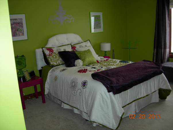 Parakeet Green Teen Dream, We redecorated my daughter's bedroom for her birthday.  Together we selected the bedding and green paint.  I did the rest as a surprise., View entering the bedroom  , Girls' Rooms Design