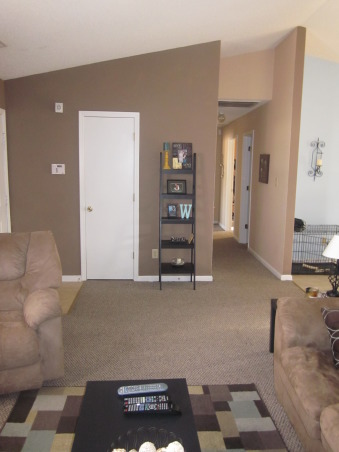the brown& blue themed living room/dinning room, removed one of the shelves.. what do you think, Living Rooms Design