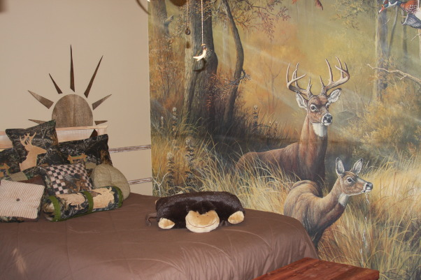 "A Hunter's Haven, I designed a ""hunter's haven"" for by 14 year old son's bedroom.  We are very outdoors-y and he loves to hunt. I used lots of Mossy Oak Break Up Pattern camo fabric and original designs using wood and other materials., This is my son's new room.  I totally redecorated it for him for Christmas. I sent him away for 3 days and thanks to some great friends (and no sleep), he had a totally new hunter's haven when he returned., Boys' Rooms Design"