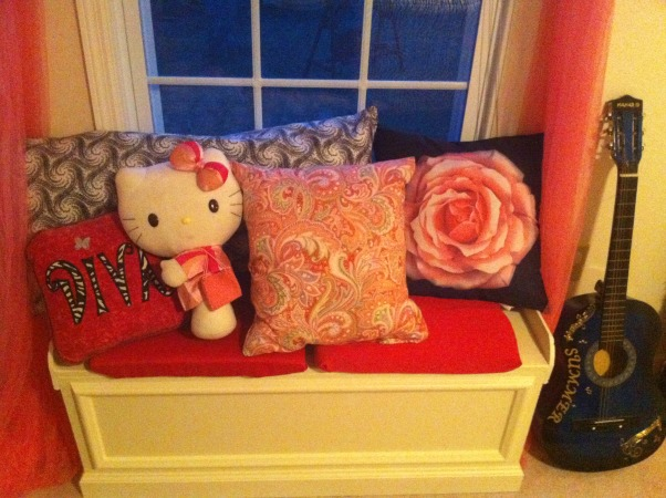 9 year old girls room, our daugher is not too girly but still enjoys being a girl:) we decided to give her a tween room that she would enjoy for years to come , hubby made the window bench i made the pillows  , Girls' Rooms Design